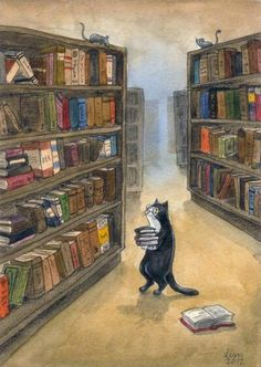 Kitty Librarian by liselotte-eriksson - Library Cat Illustration I Love Cats, Crazy Cats, Photo Chat, Book Nerd, Cat Art, Book Lovers, Cats And Kittens, Kitty Cats, Illustration Art