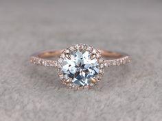Round 7mm Aquamarine Engagement ringDiamond wedding by popRing