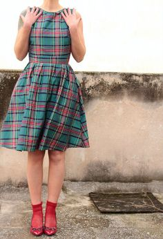 Tafetta Plaid Cocktail Dress with Open Back.Made to Order.