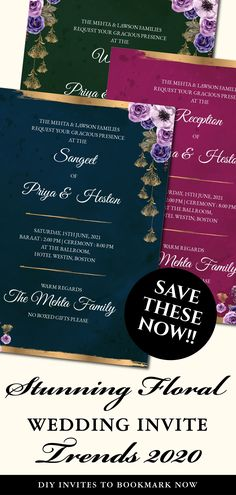 This modern jewel Tone Wedding invite template is perfect for you if you are looking for classy printable jewel tone invitations and editable template downloads for your Fall wedding invitation template!This Royal Blue Wedding invitation card Indian with emerald green & pink includes a digital invite card each for any 3 of your functions for your Fall Wedding card / Sikh Wedding invite, be it a Sangeet, Wedding or Reception! Indian Wedding Invitations, Wedding Invitation Templates, Unique Wedding Save The Dates, Jewel Tone Wedding, Wedding Cards, Wedding Decor, Wedding Prep, Digital Invitations, Jewel Tones