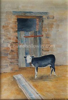 """Calf"" by Nuala Holloway - Watercolour #Art #FarmAnimals #Calf #NualaHolloway"