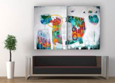 I could stare at this for hours! -------------Original abstract contemporary 3D dyptich