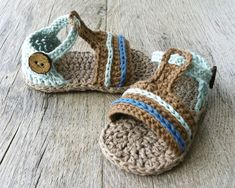 VITO Baby Boy Sandals, Crochet Cotton Summer Shoes, Brown Ice Blue, Size months, Ready to Ship Baby Girl Sandals, Crochet Baby Sandals, Booties Crochet, Baby Boy Shoes, Girls Sandals, Crochet Bebe, Crochet For Boys, Cotton Crochet, Red Christmas Dress