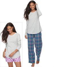 Juniors' SO® Pajamas: Flannel Pants, Shorts & Top 3-Piece PJ Set, Women's, Size: M Short, Dark Blue