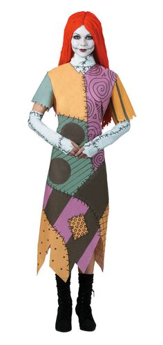 #5685 Live like Jack and Sally from The Nightmare Before Christmas this Halloween. The Sally Costume includes a multicolored patch work dress, glovettes and wig. Includes: - Dress - Glovettes - Wig *M