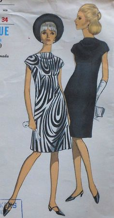 Vintage 60's Vogue Cowl Neckline Dress Sewing Pattern