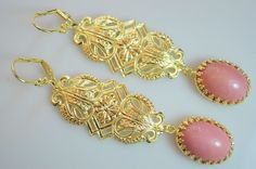 Art Deco Gold Czech Art Nouveau Filigree Pudre Pink Handmade Glass Earrings #Handmade #ArtDeco