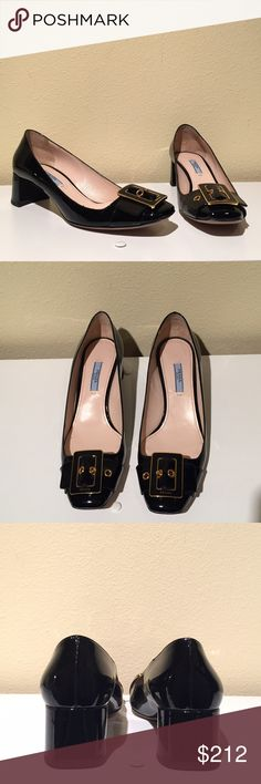 "Prada Black Patent Pumps with Gold Buckle Prada black patent leather block heel pump with gold buckle at toe. Leather lining and sole; heel is 1-3/4"". Bought these at a sample sale and have never worn. Box is included but does have sticker with sample information. Price is firm. If I can't recover what I paid I'd rather not sell. This also means that this item is not eligible for a bundle discount. If you'd like to purchase additional items let me know and I'll see what kind of discount I…"