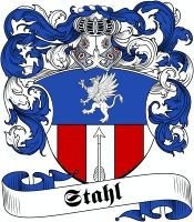 Stahl  family crest / coat of arms from www.4crests.com #coatofarms #familycrest #familycrests #coatsofarms #heraldry #family #genealogy #familyreunion #names #history #medieval #codeofarms #familyshield #shield #crest #clan #badge #tattoo