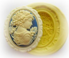 Lady Cameo Mold Silicone Frame Flexible Mould Polymer Clay Resin Soap Wax Molds. $8.95, via Etsy.