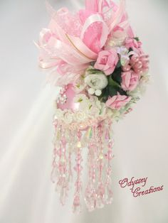 Pale Pink and Crystal AB Victorian Beaded by OdysseyCreations, $19.95