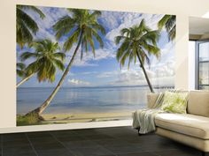 Panama, Bocas Del Toro Province, Carenero Island, Palm Trees and Beach Wall Mural