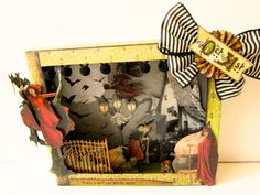 Halloween shadow box decoration Dark and Witchy Night by paperwild, $37.00