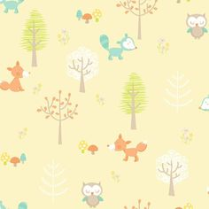 Brewster Forest Friends Animal Wallpaper Yellow - 2679-002107