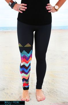 LEGGING - 'MONTAUK Chevron' Style Legging for SURF, Yoga, Running, Biking, sup, kitesurf, wakeboard