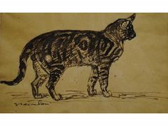 Theophile-Alexandre Steinlen (1859-1923) » Drawings » Cats » Cat (Thion auction, Dec. 11, 2011)