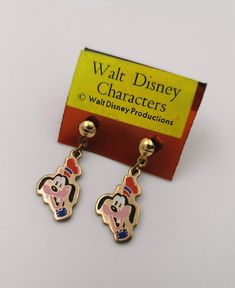 Goofy Vintage Metal Earrings Walt Disney Productions Cloisonne Style NEW old stock by VintageToysForAll on Etsy Goofy Disney, Walt Disney Characters, Kids Jewelry, Unique Jewelry, Star Cards, Little Twin Stars, Vintage Metal, Vintage Children, Happy Shopping