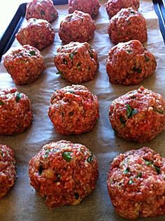 These tender, flavorful baked meatballs have been a family and reader favorite for many years. Hundreds of readers have called them the best meatballs ever! Serve them with spaghetti and your favorite … Jen's Incredible Baked Meatballs - Best Baked Meatball Recipe, Easy Baked Meatballs, Best Meatballs, Meatball Bake, Meatball Recipes, Meat Recipes, Cooking Recipes, Jelly Meatballs, Hamburger Meatball Recipe
