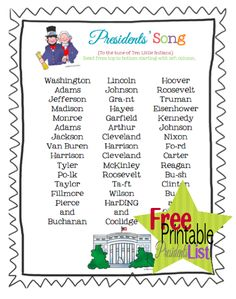 Presidents Song/US Presidents for kids - YouTube