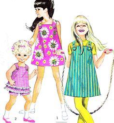 1960s Girls Jiffy Dress Pattern Simplicity 7709 A Line Pinafore Dress Sundress…