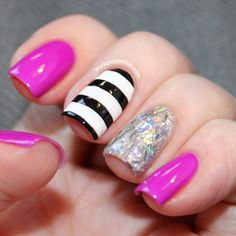Nail Designs With Stripes but different sparkles