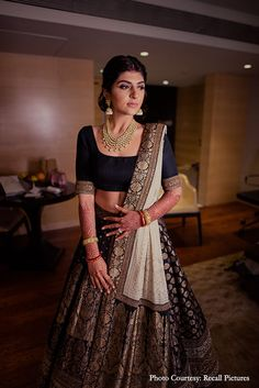 Banarasi lehenga - HighSpirited Goa Wedding with Gobs of Decor Inspo & Glam Outfit Choices! Banarasi Lehenga, Indian Lehenga, Anarkali, Lengha Choli, Lehenga Blouse, Sabyasachi, Indian Gowns Dresses, Indian Fashion Dresses, Dress Indian Style