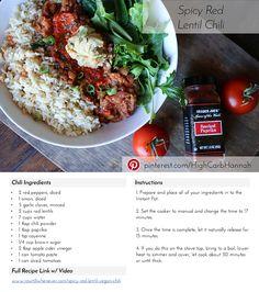 Spicy Red Lentil Vegan Chili - Instant Pot
