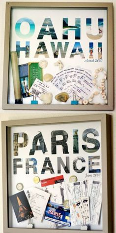 Schöne Bastelidee für Urlaubserinnerungen. Alle Souvenirs in einem Bildrrahmen aufhängen. Noch mehr tolle Ideen gibt es auf www.Spaaz.de