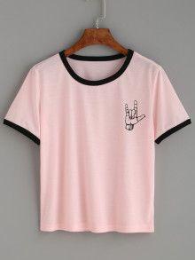 Pink Contrast Trim Love Gesture Print T-shirt