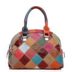 """Yilen Women's Multi-color Stitching Splicing leather CrossBody Top Handle Tote Bag (Shell Plaid). ATTENTION:Our company Eilen is now updating our brand and package from """"Eilen"""" to """"Yilen"""" for better brand recognization, hence you may receive products tagged with either of them. Made of top layer genuine cow leather, high quality and durable. Zipper & Hasp:use high-quality metal hardware, sturdy and prevent rusting. With the plaid stitching design simple but do not break fashion, you will..."""