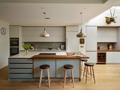 Roundhouse Urbo Matt Lacquer Bespoke Kitchen In Pearl Ashes 3 By Fired Earth And Island In Graphite 4 By Fired Earth Work Surface In Quartzstone White 04