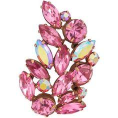 Susan Caplan Vintage 1950s Regency Leaf Brooch, Pink/Gold