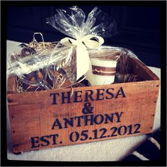 Wedding gift gift baskets, gift boxes, crate idea, gift ideas, person box, wedding gifts