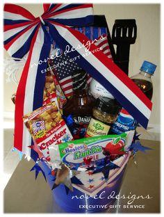 All American Gift Basket - international foster parent gift Raffle Gift Basket Ideas, Welcome Gift Basket, Raffle Baskets, Raffle Ideas, Gift Ideas, Family Gift Baskets, Diy Gift Baskets, Wine Baskets, Summer Gift Baskets