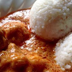 Ghanaian Spicy Peanut Butter Chicken Soup and Rice Balls