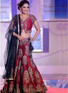 Bollywood Actress Madhuri Dixit In Maroon #Lehenga