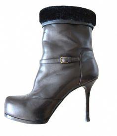 Stiefelette mit Pelz / Black / 39,5 IT / Leather / Fall - Winter