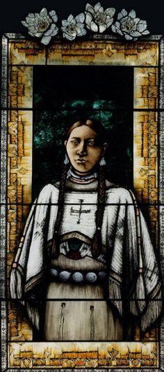 Kateri Tekakwitha stained glass window
