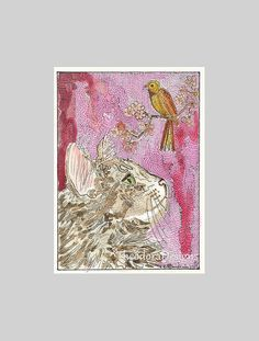 Maine Coon Cat Bird Original ACEO Signed by THEODORADESIGNS, $7.00