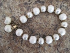 Vintage White Bead Faux Pearl Antiqued Gold by MemawsTopDrawer, $15.00