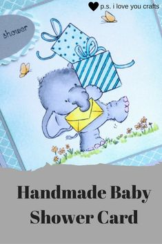 This sweet Handmade Baby Shower Card features Bella the Elephant. The stamp is called Bella with Presents from Wild Rose Studio. She's colored with Copic Markers. The teal and light gray papers make this the perfect card to welcome a new baby boy. Baby Shower Cards, Baby Cards, Baby Shower Parties, Baby Shower Themes, Baby Boy Shower, Baby Shower Decorations, Baby Shower Gifts, Shower Ideas, Shower Party