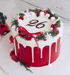 Mini Christmas Cakes, Christmas Cake Designs, Christmas Cake Decorations, Christmas Snacks, Christmas Cooking, Holiday Cakes, Christmas Christmas, Cool Birthday Cakes, Drip Cakes