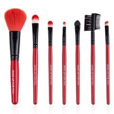 7 Pcs Cosmetic Makeup Brush Set Kit Wooden Handle PU Bag Pouch For Beauty Foundation Brush Professional Blending Brush 1461048 Concealer Brush, Lip Brush, Makeup Brush Set, Cosmetic Kit, Types Of Makeup, Flawless Face, Blush Brush, How To Apply Makeup, Makeup