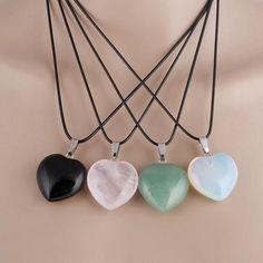 zz Natural Stone Love Pendant Necklace
