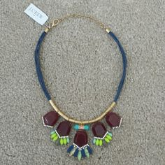 NWT J.Crew statement necklace with braided rope NWT J.Crew statement necklace with braided rope, large bordeaux colored stones, neon yellow, mother of pearl colored, taupe, navy, sky blue and jade stones. VERY BEAUTIFUL J. Crew Jewelry Necklaces