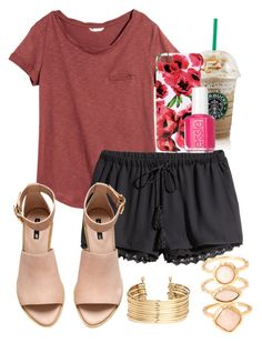 """Starbucks"" by sofiaestrada ❤ liked on Polyvore featuring H&M, Essie and Monsoon"
