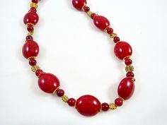 Beaded Red Marble Acrylic Necklace, Red Beaded Necklace, Dark Red Beaded Marble Acrylice Necklace, Handmade Beaded Necklace by TexCajunJewelry on Etsy