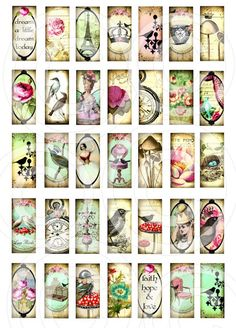 WHiMSiCaL 1.78 x .78 inch vintage designs DIGITAL CoLLaGe SHeeT clear glass rectangles images pendant blanks sh1 $4.98    ♥35 original WHiMSiCaL designs♥  digital images printed at 8.5 x 11 images will measure 1.78 x .78 inches. File is saved at 300dpi digital sheet will be emailed to your paypal email address on file normally within 24 to 48 hours of purchase.