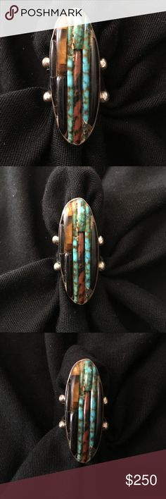 Rare! Vintage Carlos Eagle Turquoise Ring Rare a vintage Carlos Eagle Ring Circa 1960's !!!! Most known for his use and artistry in multiple stone cuts and mosaics on Cuff Bracelets, rings of his are not as common! Carlos Eagle is a celebrity jeweler. He began making jewelry in the early 1940's and worked with some the best silversmiths of his time from southwest. Open to offers Eagle Jewelry Rings