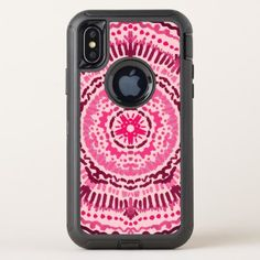 #Pink and Red Marsala Painted Girly Mandala OtterBox Defender iPhone X Case - #girly #iphone #cases